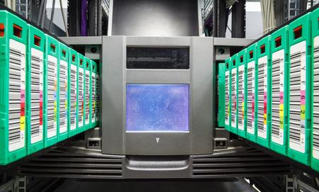 streamer, tape library for data backup in the server rack in the datacenter Stock fotó
