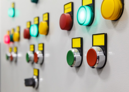 White electrical panel with multi colored indicators Stock fotó
