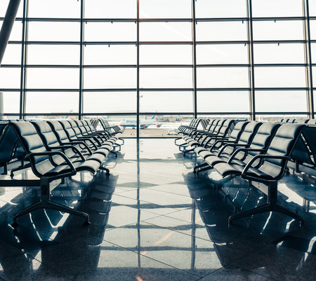 Empty seats in the departure lounge at the airport