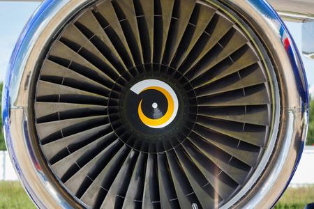 private parts: background, blade turbine engine civil aircraft closeup