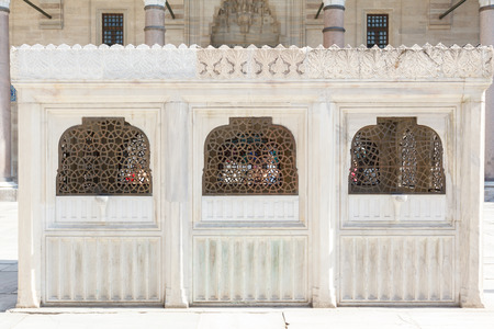 suleyman: fountain in The courtyard of the Suleymaniye Mosque. The Suleymaniye Mosque is the largest mosque in the city Stock Photo