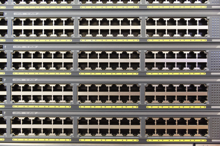 utp: background a plurality of copper ports RJ45 on a stack of switches