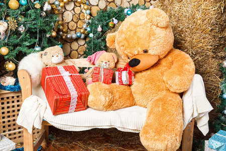 under the tree: Teddy bear under the Christmas tree with toys