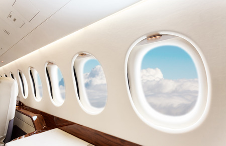 private airplane: Luxury interior in bright colors of genuine leather in the business jet