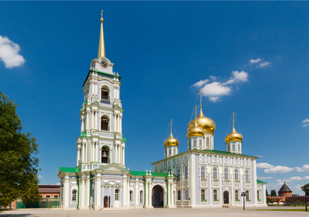 the orthodox church: white church Assumption Cathedral on a background of blue sky in the town of Tula, Russia Stock Photo