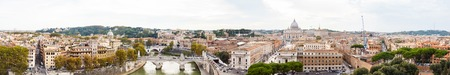 st  peter s  basilica: Panorama Cityscape from height, Angels bridge and St. Peter s basilica.