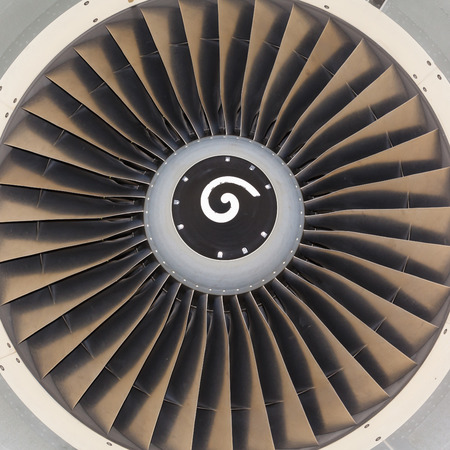 turbine engine: background, blade turbine engine civil aircraft closeup