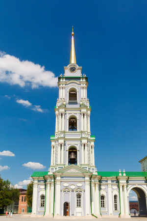 colonial church: white church Assumption Cathedral on a background of blue sky in the town of Tula, Russia Stock Photo
