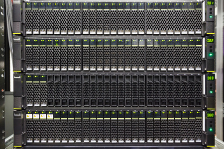 diskdrive: set of black hard drives in the storage system in the data center