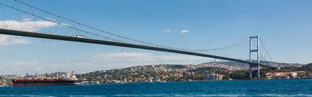 bogazici: bridge on Bosphorus connecting the european waterside of Istanbul with the asian waterside on background of blue sky