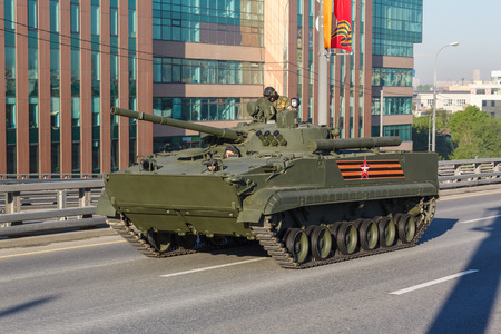 festivities: MOSCOW  RUSSIA - MAY 9: BMP-3 Russian amphibious infantry fighting vehicle (Infantry Combat Vehicle) on parade festivities devoted to 71 anniversary of Victory Day on May 9, 2016 in Moscow.