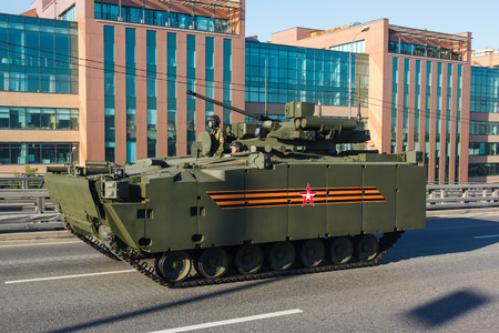 infantry: MOSCOW, RUSSIA - MAY 09, 2016:Russian amphibious infantry fighting vehicle (Infantry Combat Vehicle) BMP on medium tracked platform kurganets-25 on parade festivities devoted to 71 anniversary of Victory Day on May 9, 2016 in Moscow. Editorial