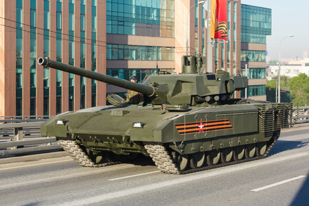 festivities: MOSCOW  RUSSIA - MAY 9: Russian main tank t14 Armata on parade festivities devoted to 71 anniversary of Victory Day on May 9, 2016 in Moscow. Editorial