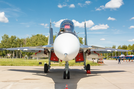 modern fighter: KUBINKA, RUSSIA - JUN 18, 2015: The Sukhoi Su-30 is a russian modern supermaneuverable supersonic fighter aircraft at the International military-technical forum ARMY-2015 at the Kubinka air base Editorial