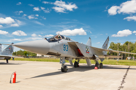 supersonic: KUBINKA, RUSSIA - JUN 18, 2015: The MiG-31 BM is a supersonic interceptor aircraft at the International military-technical forum ARMY-2015 at the Kubinka air base Editorial