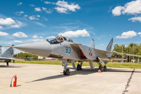 mig: KUBINKA, RUSSIA - JUN 18, 2015: The MiG-31 BM is a supersonic interceptor aircraft at the International military-technical forum ARMY-2015 at the Kubinka air base Editorial