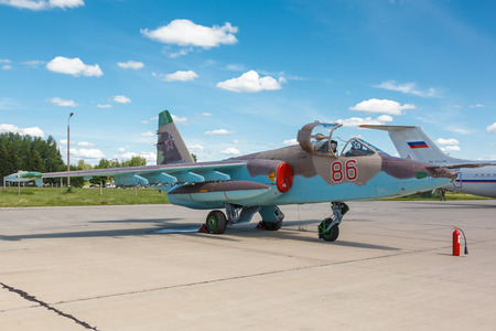 turbojet: KUBINKA, RUSSIA - JUN 18, 2015: The Sukhoi Su-25 Grach (Frogfoot) is a twin-engine armored subsonic attack aircraft at the International military-technical forum ARMY-2015 at the Kubinka air base
