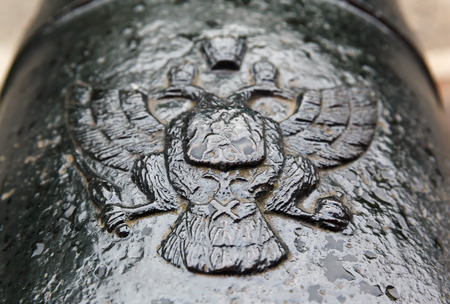 18th century: coat of arms Russian Empire on cast-iron cannon of 18th century Stock Photo
