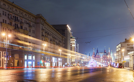 Decorations for New Year and architecture of Moscow. Tverskaya street Stock Photo