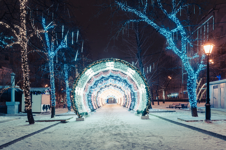 Decorations for New Year and architecture of Moscow. Boulevard Ring Stock Photo