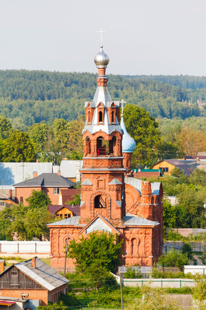 river banks: Borovsk. Russian summer landscape with church of red brick