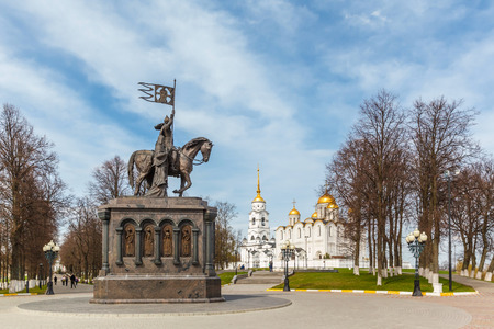 vladimir: Monument of Prince Vladimir against Assumption cathedral in Vladimir, Russia. Golden Ring of Russia. Stock Photo