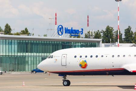 Moscow region, Vnukovo, Russia - July 02, 2016: RA-42411 Yak-42, Rosoboronexport standing at Vnukovo 3 international airport
