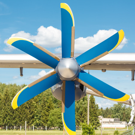 turboprop: propeller of turboprop engine on a light cargo plane up on background of sky