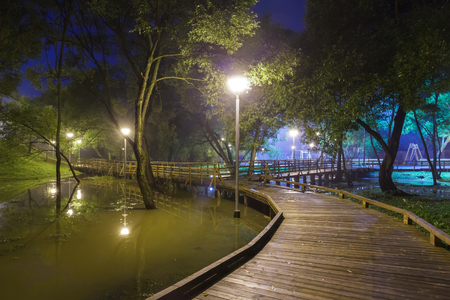 pavers: mist, wooden sidewalk and the river in light lantern at night, Moscow summer park