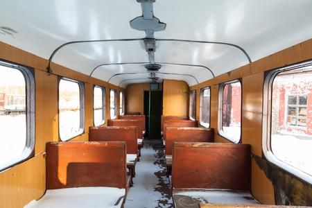 old wooden wagon narrow gauge railway Stock Photo