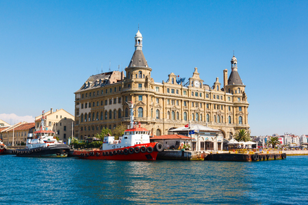 Istanbul ferry and Haydarpasa railway station. Stock Photo