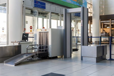 Airport security check point with metal detector Stock Photo