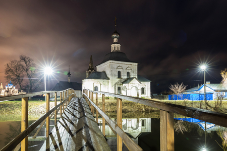 Suzdal, Russia. wooden bridge through the Kamenka River