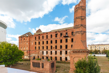Red brick mill, ruined during the World War 2, as a war monument in a center of Volgograd, former Stalingrad Stock Photo