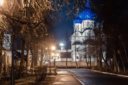 humility: Suzdal, Russia. Nativity Cathedral, the bell tower and Archbishops chambers of Suzdal Kremlin at night in spring