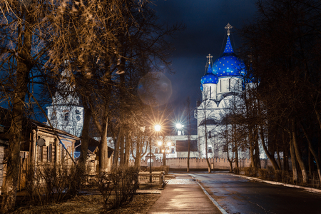 Suzdal, Russia. Nativity Cathedral, the bell tower and Archbishops chambers of Suzdal Kremlin at night in spring