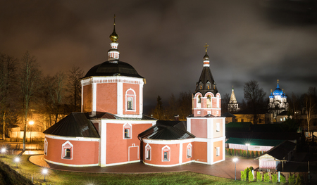 Suzdal, Russia. Church of the Assumption, the bell tower of Suzdal Kremlin at night in spring.