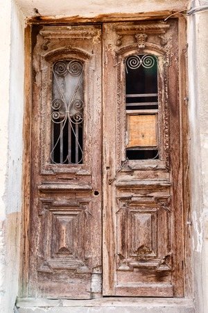 old vintage wooden door in a house in the cities of Georgia. Stock Photo