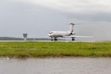VNUKOVO, MOSCOW REGION, RUSSIA - 02 July, 2017: Airplanes at Vnukovo international airport. Meridian Airlines Tupolev TU-134 ready to take off from runway. Editorial