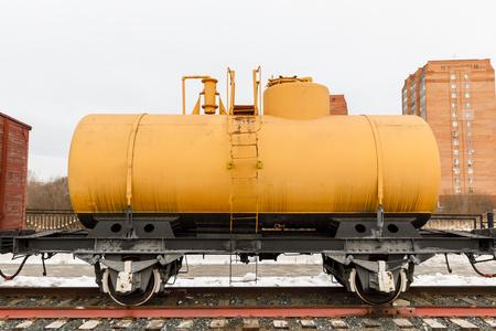 Old railway car cistern of the era steam locomotives.
