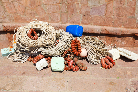 Detail of an old traditional fishing net.