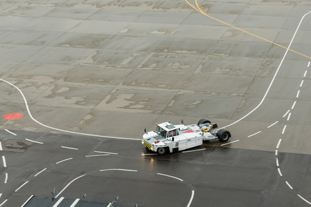 Airplane Tugs, Machine for push back aircraft to taxiway in ground handling services at the airfield. Imagens