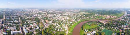 panorama of the city from a height. Saint Sophia orthodox cathedral and church of Resurrection of Jesus, The Kremlin Square of the Old City in a sunny summer day in Vologda Kremlin.