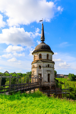 Bell tower in Cathedral of the Ascension of the Lord. Spaso-Sumorin Monastery. Totma. Vologda Region. Russia.
