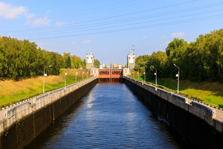 The gateway on the Moscow Canal, constructed between 1932 and 1937, a transport artery and a grand structure providing Moscow with water. Stock Photo