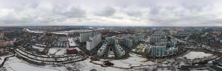new high-rise residential buildings in the new neighborhood of Moscow. Aerial view City of Lyubertsy, Moscow Region, Russia.