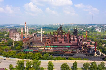 blast furnace and other elements of the metallurgical industry, a view of the structure from a height.