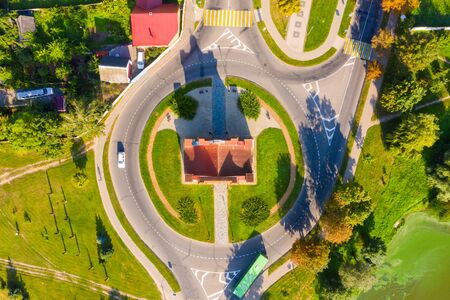 Slutsk gate in Nesvizh in summer in sunny weather. Aerial view from a drone.