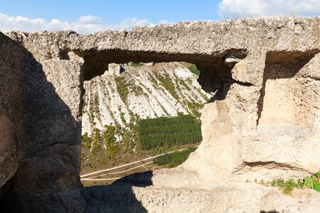 Medieval cave city-fortress Chufut-Kale in the mountains, Bakhchisaray, Crimea.