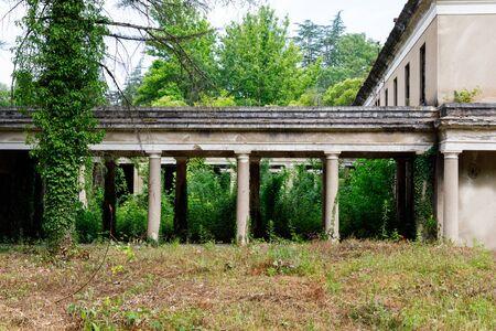 The ruins of the old Soviet sanatorium Stock Photo